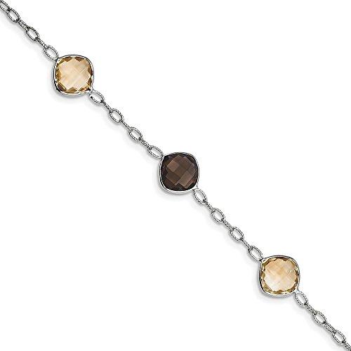 Perfect Jewelry Gift Sterling Silver Rhodium-plated Citrine & Smoky Quartz Bracelet