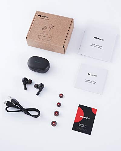 True Wireless Earbuds, BCMASTER Bluetooth 5 Headphones with USB-C Wireless Charging Case and 25Hrs Playtime for Sports, Touch Control and Built-in Microphone for iPhone and Android