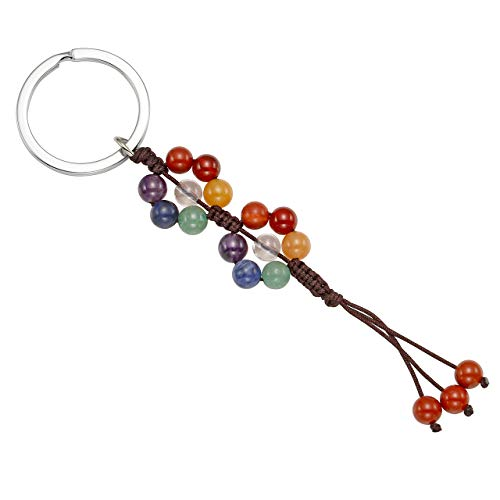 CrystalTears 7 Chakra Healing Stone Beads Tassel Keychains Car Keyring Holder Bag Wallet Purse Decorations, Reiki Crystals Hanging Ornament
