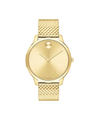Movado Bold, Pale Yellow Gold Ion-Plated Stainless Steel Case, Pale Yellow Gold Dial, Pale Yellow Gold Ion-Plated Stainless Steel Pyramid Mesh Bracelet, Women, 3600598 (Gold Movado Bracelet)