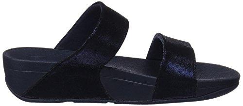 Minuit Suede Slide Shimmy FitFlop Femme Sandales Bleu Marine Bleu Rose qazfwHx5