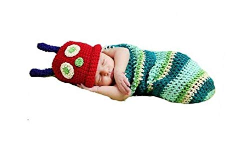 Matissa, Baby Photography Prop (Caterpillar) Newborn Baby Girl Boy Crochet Knit Costume Photo Photography Prop Hats Outfits]()