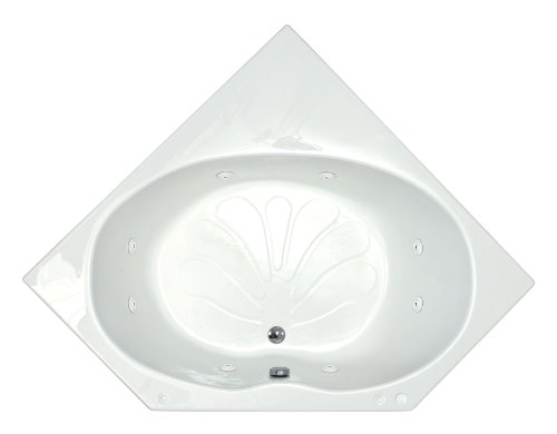 Acrylic Eclipse Tub (Sea Spa Tubs S6060EWR Tubs Eclipse 60 by 60 by 23-Inch Corner Whirlpool Jetted Bathtub, White)