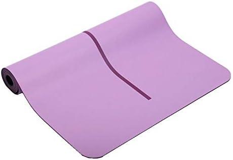 Eco friendly ボディアライメントヨガフィットネスマットスエードラバーノンスリップ保護の高度な印刷健康的なヨガの花マットヨガマット環境に優しいノンスリップヨガピラティス床とガードパッド exercise (色 : Purple)