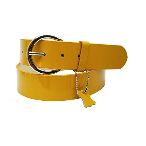 Patent Leather belt With Round Shiny buckle Mustard Yellow M/L