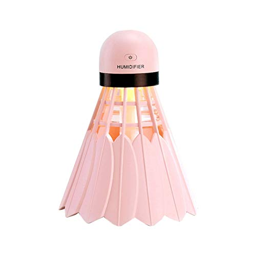 Hankyky 240ML Mini Portable Badminton Shaped Cool Mist Humidifier USB Powered Ultrasonic Diffuser for Office Home Bedroom Living Room Study Yoga Spa