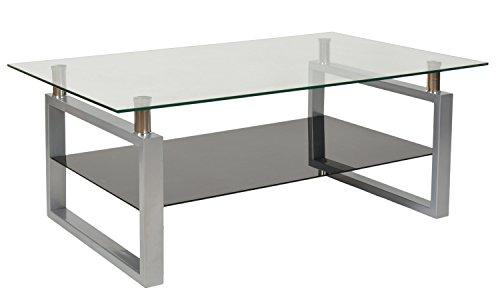 ts-ideen Design Hartglas Wohnzimmer Couch Glastisch Glas Beistell-Tisch Edelstahl Hochglanz Ablage Schwarz 8 mm ESG Sicherheitsglas 109 x 69 cm