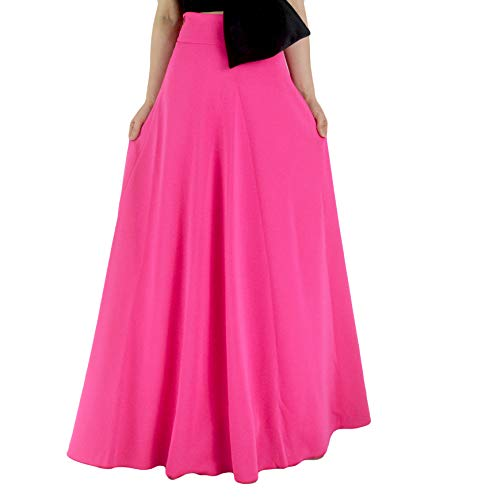 YSJERA Women's High Waist A-Line Pleated Solid Vintage Swing Maxi Skirts Midi Skirt Party (S, Hot Pink)