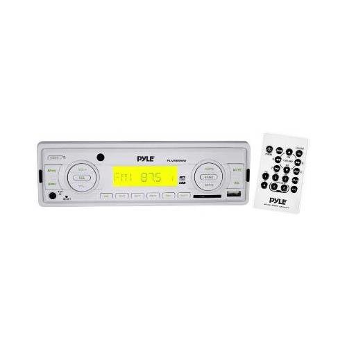 Pyle PLMR89WW Marine Flash Audio Player - 160 W RMS - Single DIN LCD Display - MP3 - AM FM - 18 12 x FM AM Preset - Secure Digital (SD) Card MultiMediaCard (MMC) - USB - Auxiliary Input - Detachable Front Panel