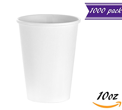 - (1000 Count) 10 oz White Paper Hot Cups, Disposable Coffee Cups by Tezzorio, Squat Hot Drink Paper Cups for Latte, Cappuccino, Tea, Chocolate
