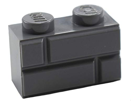LEGO Parts/Elements - Accessories New Modified 1 x 2 Dark Stone Gray Brick with Masonry Profile (x20)