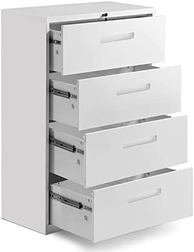 Modern Luxe 4 Drawers Metal Vertical Lockable File Cabinet with Hanging File Frame for Legal Business File 4 Drawers, White Insert Handle