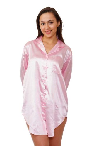Satin Night Shirts for Women, Up2date Fashion Style#NS-11 (L, Pink) (Satin Sleepshirt)