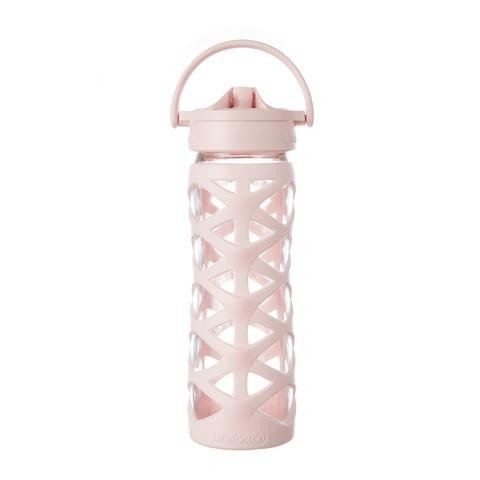 Glass Bottle with Axis Straw Cap Cherry Blossom Lifefactory