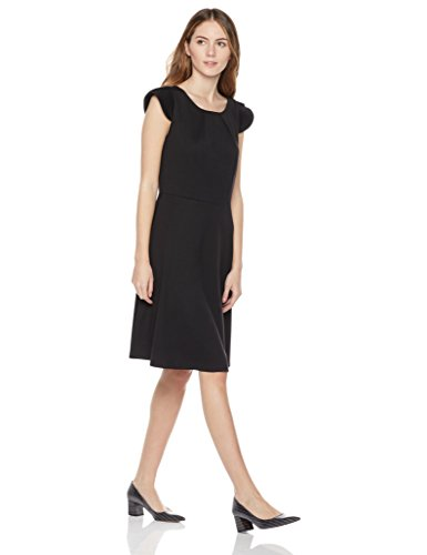 Painted Heart Women's Cap Sleeve Ponte Fit-and-Flare Dress Large Black (Cap Sleeve Ladies Apparel)