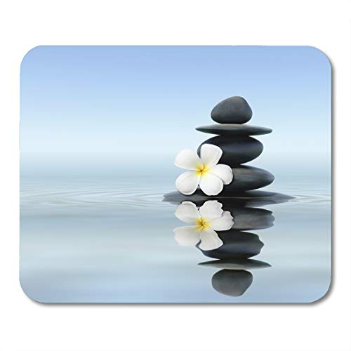 - Nakamela Mouse Pads Black Relax Zen Spa Concept Massage Stones with Frangipani Plumeria Flower in Water Reflection Tranquil Mouse mats 9.5