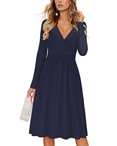 OUGES Womens Long Sleeve V-Neck Wrap Waist Party Dress with Pockets(Navy,XL)