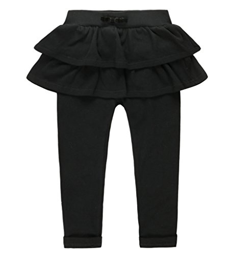 Coodebear Girls' Pantskirt Double Layers Bowknow Culottes Pants Black Size 7 by Coodebear