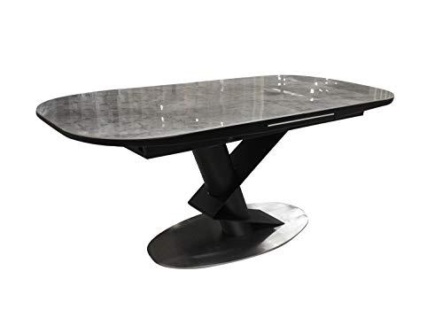Meubletmoi - Mesa de comedor extensible 180/220 cm, rectangular, bandeja de ceramica efecto marmol y patas metalicas, diseno moderno