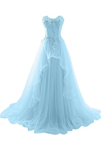 VIPbridal ogue Evening Prom Dress sin tirantes A línea de volantes Applique Azul