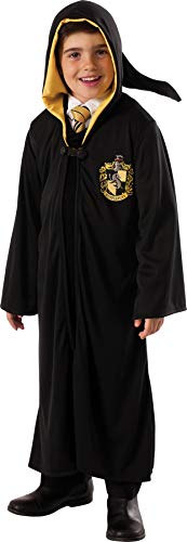 Boy's Harry Potter Hufflepuff Hooded Robe Child Outfit Halloween Costume, Child M (8-10) Black ()