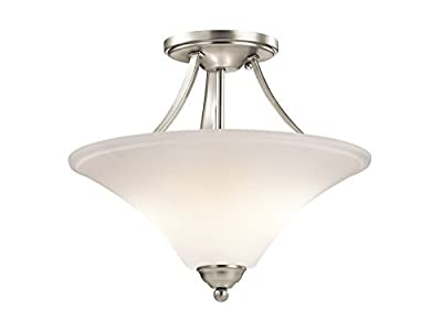 Kichler Keiran 2-Light Semi-Flush and Satin Etched Glass Shade
