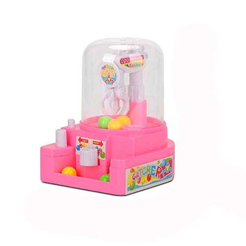 Wenini Toy Claw Machine for Kids Mini Doll Machine Grab Ball Candy Catcher Gum Crane Kids Party Toys Role Play for Kids Toys Gift (Pink)