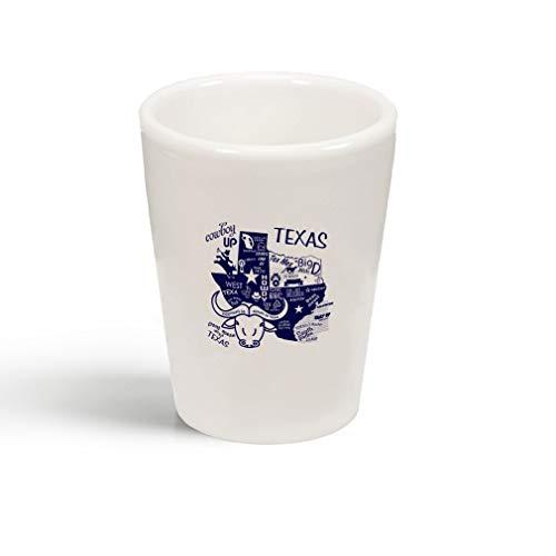 (Navy Cowboy Texas Boots Ceramic Shot Glass)