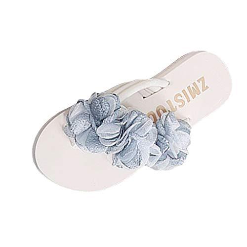 Goddessvan Women's Wedges Flip Flops Sandals Summer Pearl Flower High Heel Slippers Beach Shoes Light Blue ()
