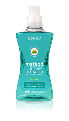 Method Naturally Derived 4X Concentrated Laundry Detergent, Beach Sage, 66 Loads, 53.5 Fluid Ounce (4 Count)