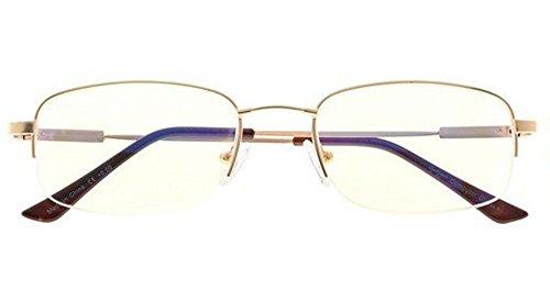 - Bendable Memory Titanium,Blue Light Blocking,UV Protection,Reduce Eyestrain,Half-Rim Computer Gaming Reading Glasses(Gold) +1.5