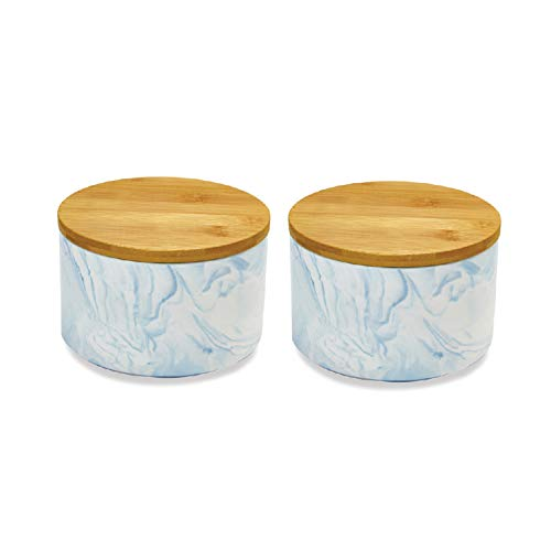 (2pc Porcelain Kitchen Canister Set with Bamboo Lids – Sky Blue Marble Containers with Airtight Seal – Sugar, Coffee, Flour or Food Storage Jar -Hold 30 oz. 6