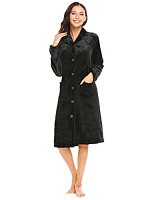 Ekouaer Robe Womens Button-down Bath Robes Fleece Plush Long Sleeve Sleepwear