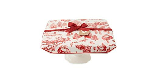 (Mud Pie Christmas Toile Ceramic Cake Stand in White)