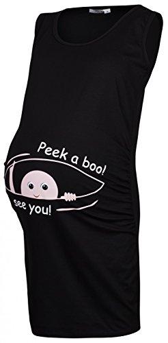 Happy Mama Para Mujer Túnica larga premamá con eslogan estampado Peek a boo 900p Negro