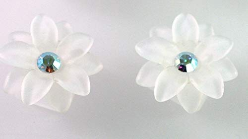 6 Frosted White Resin 2Strand Flower Beads Made with Ab Clear Swarovski Crystal