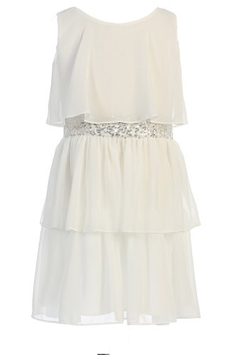 Sweet Kids Big Girls' Sequin Belted Chiffon Dress 10 Off White Sk 401 -
