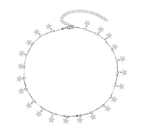 Aphaca Choker Necklace - Simple Geometric Circle Choker Statement Clavicle Necklace for Women Girls Necklace Jewerly (Silvre-Star)
