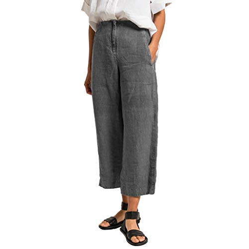(BBesty Big Sale Women's Sexy Summer Fashion Pants Solid High Waist Pants Pockets Casual Beach Pants Gray)