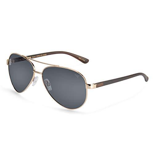 KastKing Kenai Aviator Polarized Sunglasses,Gloss Gold with Walnut Temple,Smoke ()