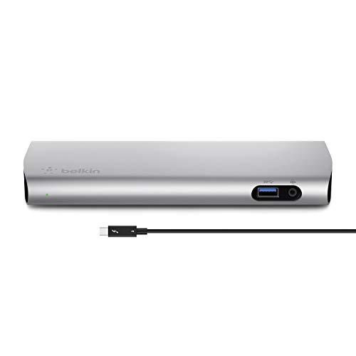 Belkin - Thunderbolt 3 Express Docking Station con cable activo de 80 cm (40 Gbps,85 W, 4K, 3 puertos USB 3.0, salida de audio, Gigabit Ethernet, Thunderbolt 3/USB-C), aluminio (versión antigua)