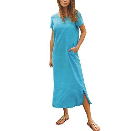 - CCOOfhhc Womens Retro Dress O Neck Cotton Linen Maxi Dress Summer Short Sleeve Plain Loose Comfy Long Beach Dress with Pocket Light Blue