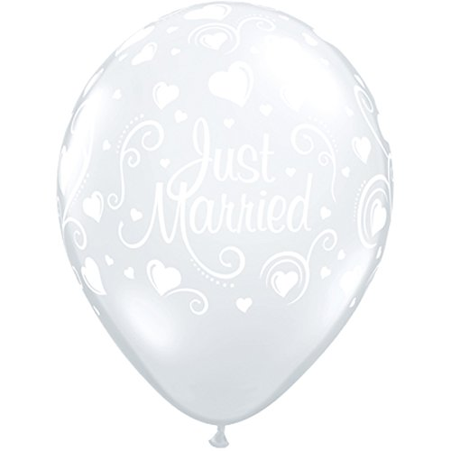 Qualatex Latex Balloons 18652-Q Just Married Hearts - Diamond Clear, - Inch 11 Balloons Clear Latex Diamond