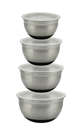 MIXING BOWLS. Stainless Steel 4pc 6/5/4/3 Qt. Large & Thick-Walled With Non-Slip Bases & Semi-Clear Lids. Food Preparation & Storage Bowls for Home or Professional. Best Bowls By (3 Quart Mixing Base Bowl)
