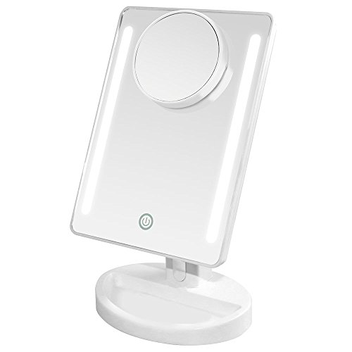 Auxmir Makeup Mirror 20 LED Lighted Vanity Mirror with Detachable 10X Magnifying Spot Mirror, Dimmable Touch Sensor Switch, 180° Rotation Tabletop Cosmetic Mirror by Auxmir