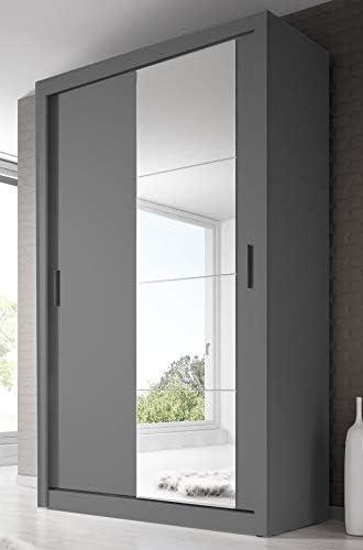 Arthauss - Armario de Puerta corredera con Espejo para Dormitorio, diseño Moderno, Color Gris, 120 cm: Amazon.es: Hogar