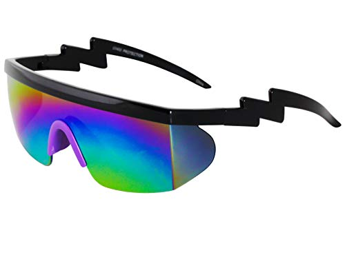 Semi Rimless Goggle Style Retro Rainbow Mirrored Lens