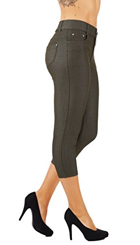 5StarsLine Women's Jean Look Jeggings Tights Slim Fit Pull Up Pants Solid Colors Full Length and Capri Casual Leggings (L USA 10-12, 5S01-CP-AMG)
