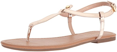 Rampage Women's Pashmina Casual Comfortable T-Bar Flat Sandals, Rose Gold, 6.5 Medium US