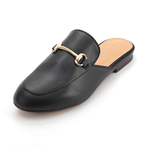 Buckle Oxford - LaRosa Womens Leather Oxford Backless Slipper Slip-ons Loafer Shoes,Black,9.5 B (M)